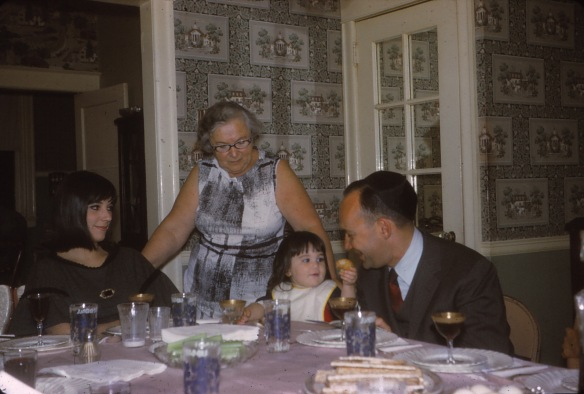 Passover 1967.  Mom, Mom Mom Liz, Robin, and Uncle Milt in the dining room in Georges Lane.  I have such strong memories of the wall paper.