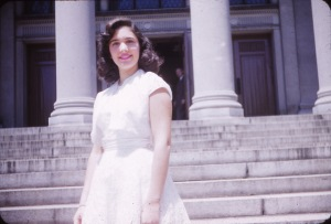 Mom on the same steps on the day of her Jr. High graduation, June 1953