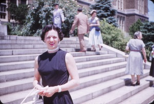 Mom Mom Ruth on the same steps at mom's graduation June 1953.
