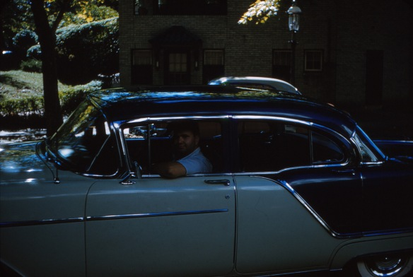 the image is fairly dark, but you can see Pop Pop Henry behind the wheel parked out in front of the house on N. 52nd St. (I recognize the house across the street from our recent visit).  Taken sometime in the mid-1952.