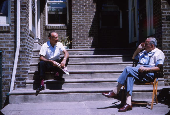 Pop Pop Harry with his next door neighbor sitting on their shared steps at 1771 Georges Lane.  Photo taken in 1959.