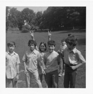 Sixth grade school friends gathered in the back field of Merion Elementary, circa 1970.