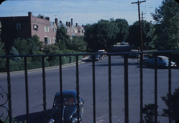 The same spot, circa 1959. I'm assuming that's dad's black VW bug parked in front.