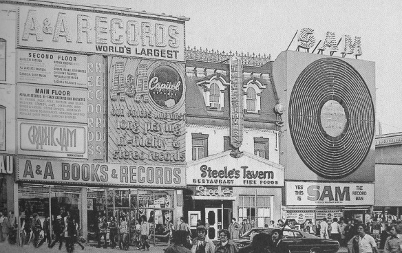 """Yonge Street, Yorkville, the hub of Toronto's music scene in the 1960s, with A&A Records, Steel's Tavern, and Sam's Record Store."" Photo/caption included in Neil Young: The Definitive History by Mike Evans (2012 Sterling Publishing, NY)"