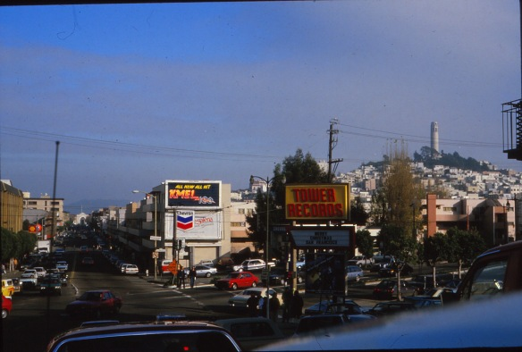 Gail took this shot of Tower Records in San Fran (with the always dramatic Coit Tower in the distance) on a solo trip - one of her many - to the west coast in the late 80s.